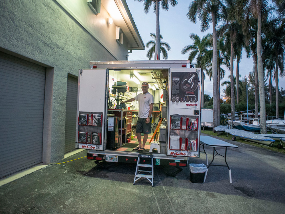 The Harken Tech Team in its native environment at the  Sailing World Cup Miami , a key stop on the Olympic qualification circuit.