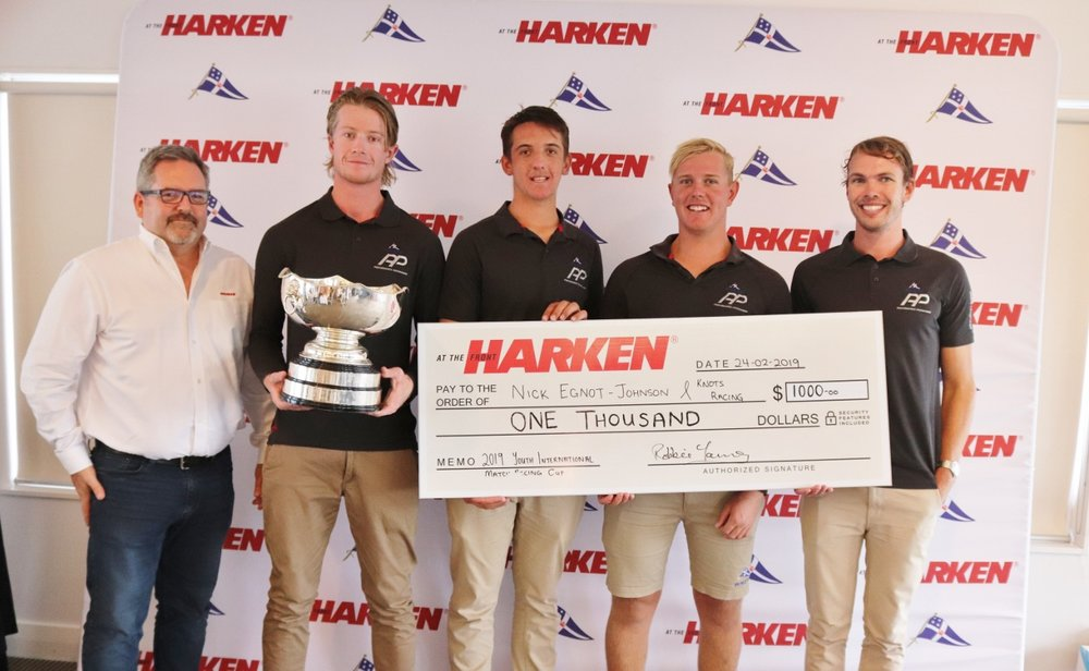 Robbie Young, Managing Director, Harken New Zealand, awarding champion KNOTS Racing Team.