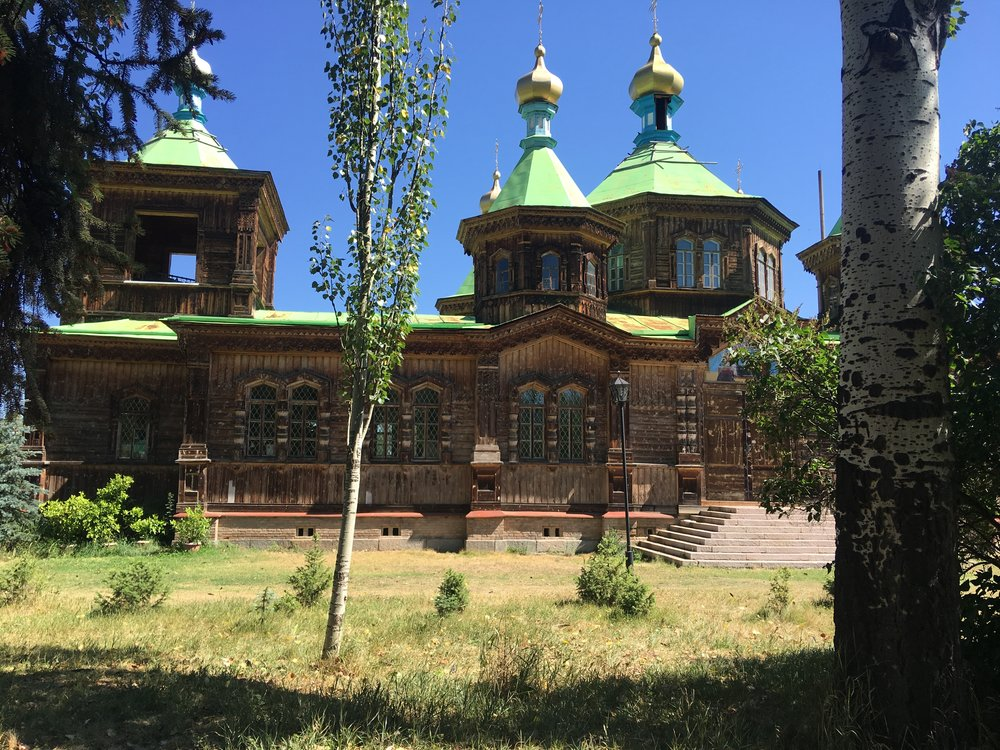 The Russian Orthodox cathedral above and Chinese influenced Mosque below.