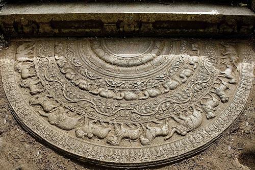 The Pancavasa moonstone in Anuradhapura