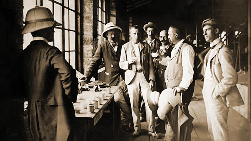 British planters at a tasting of Ceylon tea at the tea estate