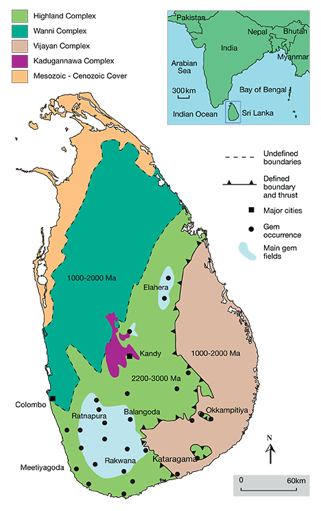The Precambrian basement of Sri Lanka can be divided into four units: the Highland Complex, the Vijayan Complex, the Wanni Complex, and the Kadugannawa Complex. Most of the gem deposits are located in the Highland Complex. Image and text from www.gia.edu