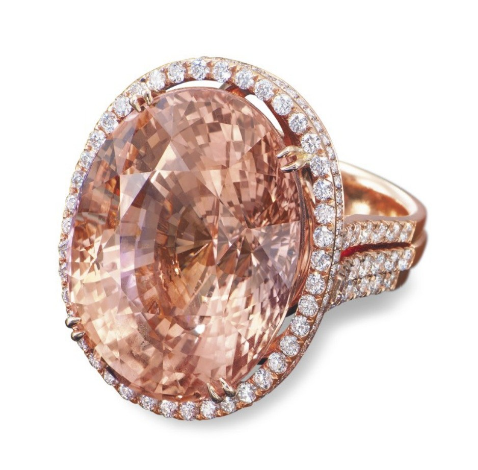 This padparadscha for sale at auction at Christie's (HK) in 2013 weighs approximately 73.98 carats. Its high pre-sale estimate was $1.55 million