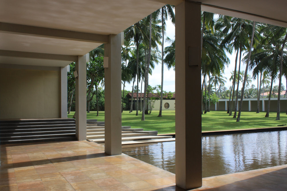 Blue Water Hotel, Wadduwa (1998) - characteristic high ceilings, polished concrete, courtyard with water feature
