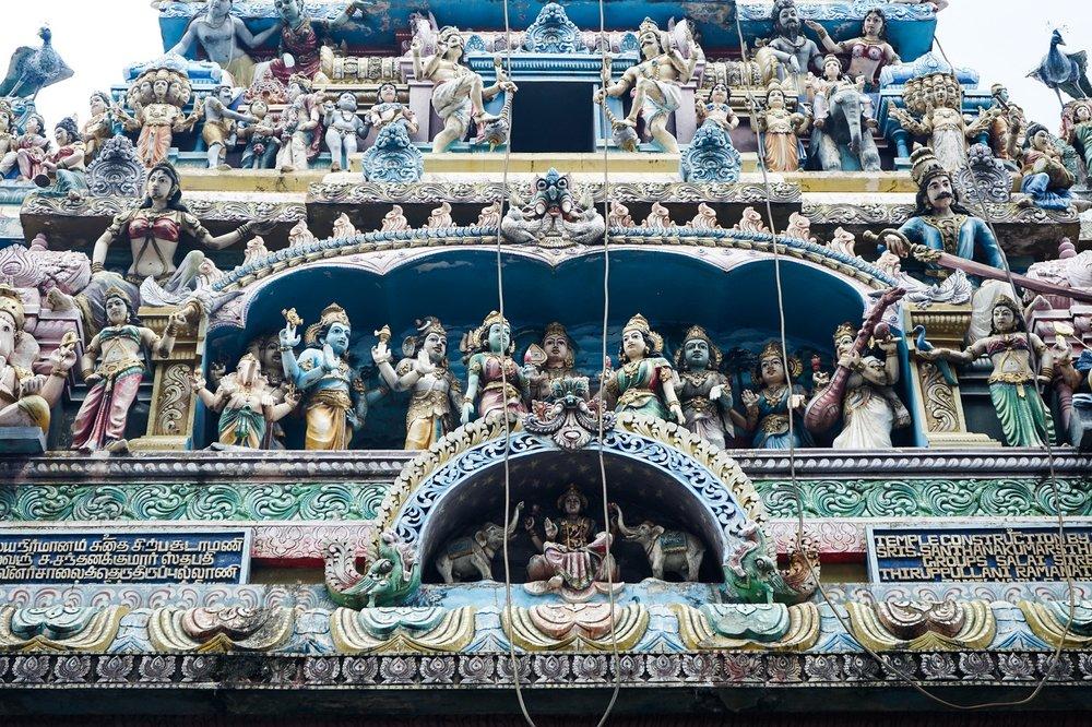 The front relief of the Sammangodu Sri Kathiravelayutha Swami Temple on 1st Cross Street.