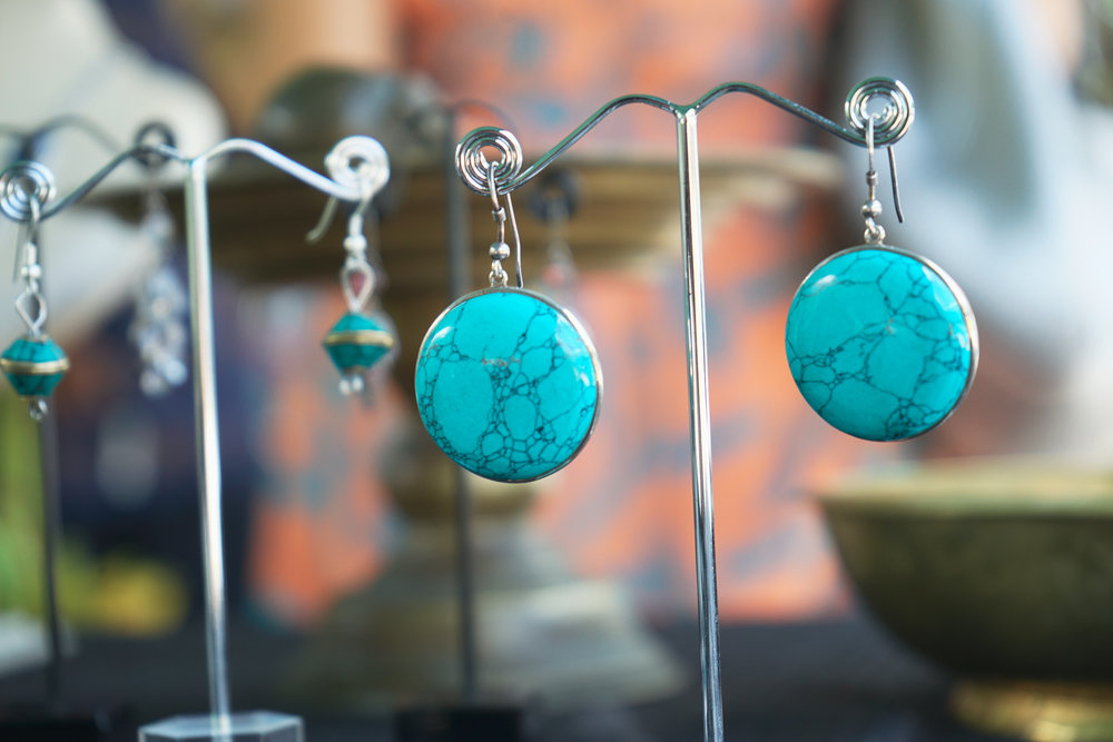 Sri Lankan jewellery: artisan designed turquoise earrings available at Good Market in the Viharamahadevi Park South East shopping district