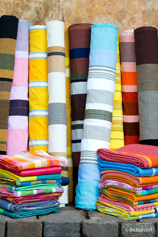 Sri Lankan homewares and textiles - handloom fabrics available at Barefoot in the Colombo 3 South shopping district. Photo credit: Barefoot