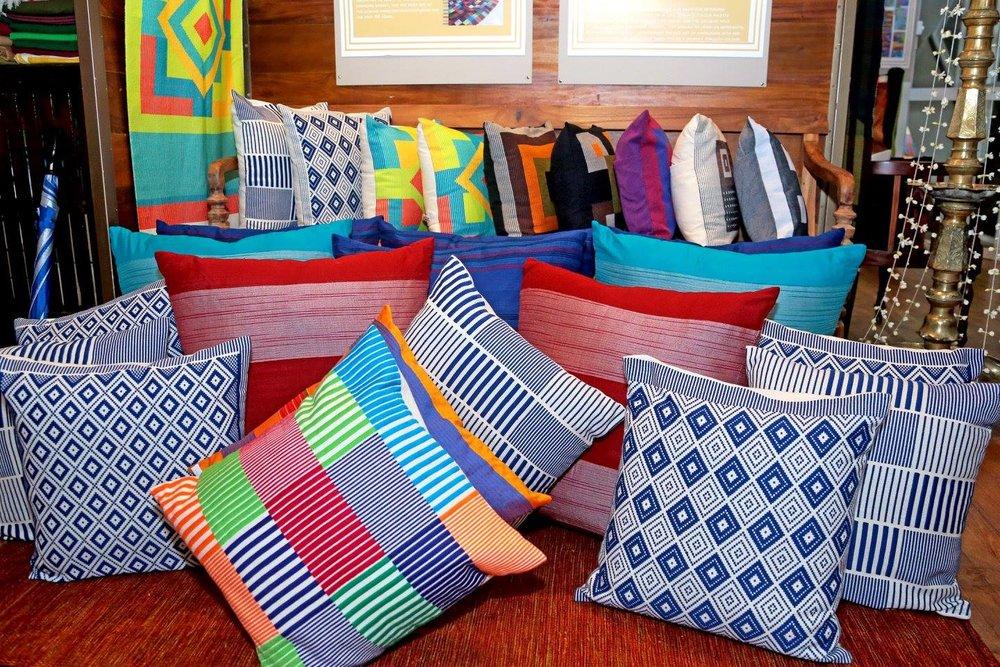 Handloom fabrics on cushions at Kandygs