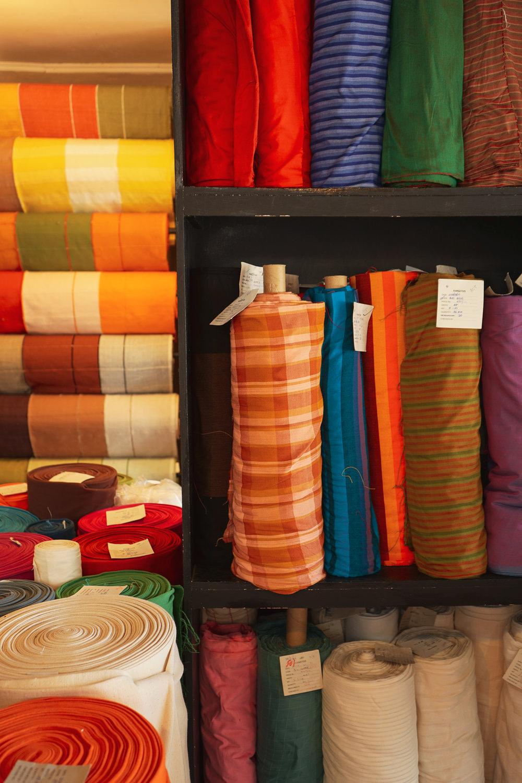 Handloom fabric rolls at Kandygs