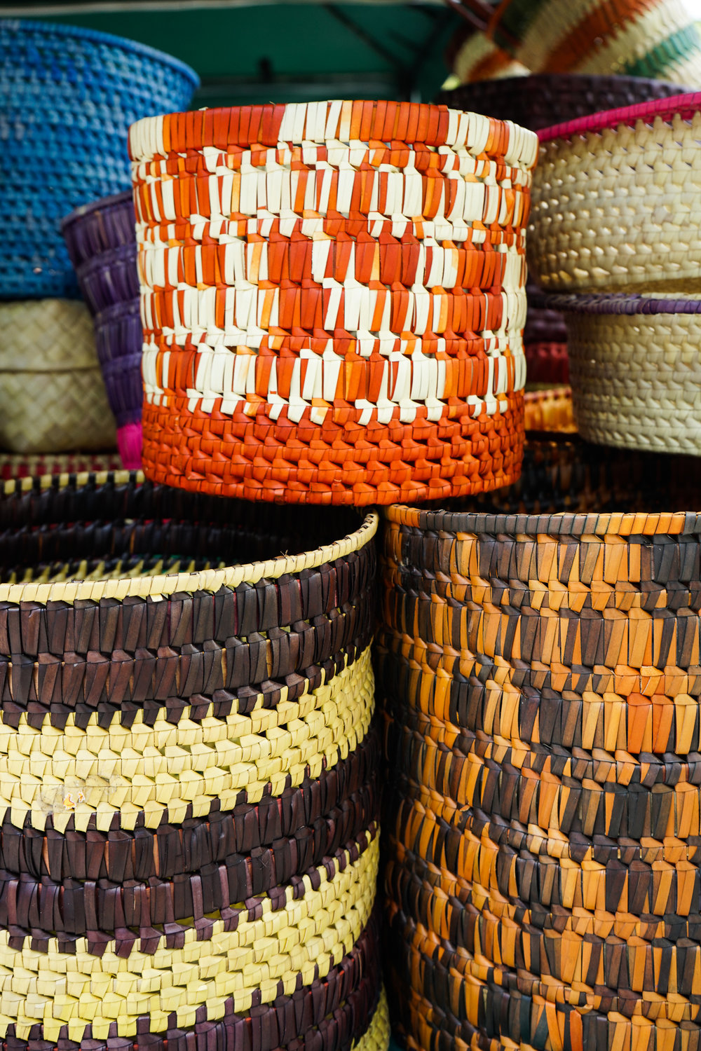 Sri Lankan homewares - palmyrah weaved baskets from Mannar by Natura available at Good Market in the Viharamahadevi Park South East shopping district