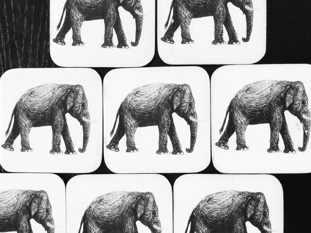Elephant motif coasters available at Paradise Road