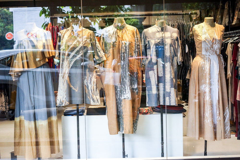 Shopfront mannequins displaying Sonali Dharmawardena designs at PR Sri Lanka