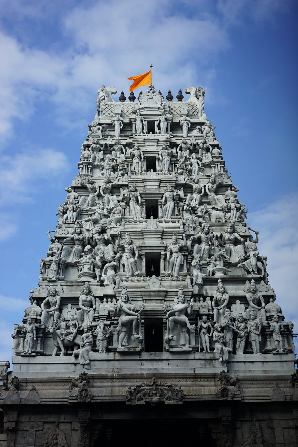 """The ornate kovil roof without colour signifying Shiva's role as """"the destroyer"""""""