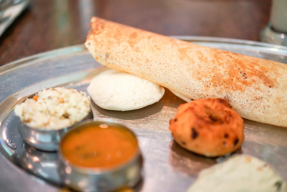 The mini thali at Sri Surya's Hotel
