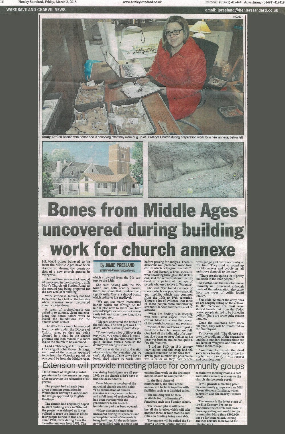 Above: Printed article clipping from the Henley Standard, 2 March 2018.