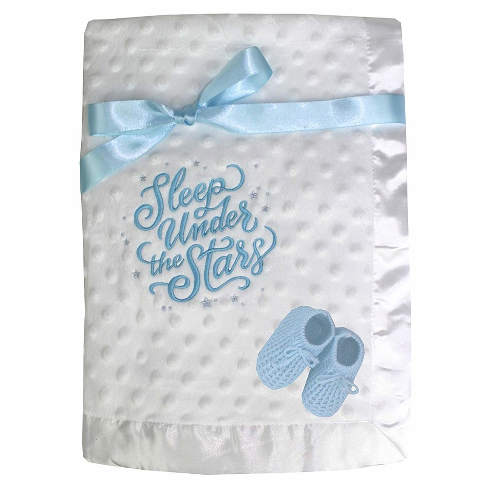 2bbeec07e Sleeping Under The Stars White Bobble Baby Blanket with Blue Baby ...