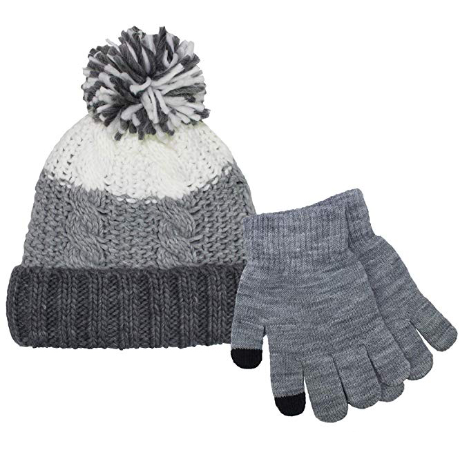 Girls Pink Chunky Cable Knitted Pom-Pom Bobble Hat with Touch Screen Gloves Set