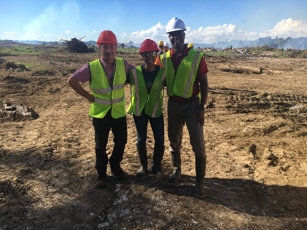 Mr. Jean-Baptiste Vincent (construction manager), Ms. Angella Rainford (developer), and Mr. Wayne Grant (project manager) on site at the start of the land clearance, November 2017.