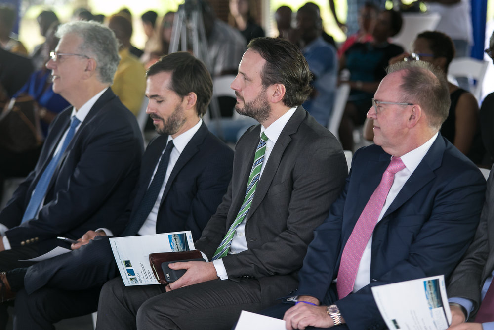 From left to right, Ambassador Jean-Michel Despax of France, Mr. Lionel Bony (Neoen), Mr. Roman Rocke (MPC Capital), Mr. Per Pederson (MPC).