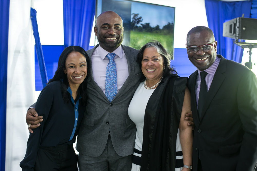From left to right, Ms. Angella Rainford (Rekamniar), Dr. the Hon. Andrew Wheatley (MSET), Mrs. Hillary Alexander (MSET), Mr. Ansord Hewitt (Director General, Office of Utilities Regulation)