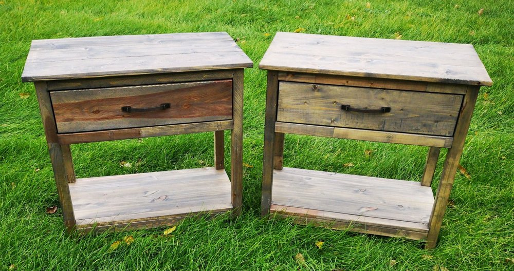 Final products after the finishing process. The Weather Wash reacted differently to both nightstands making them one of a kind pieces!