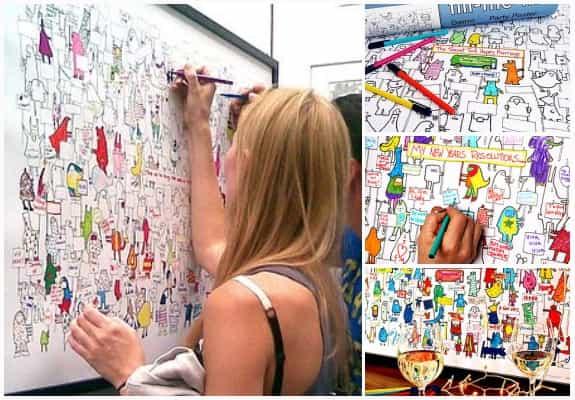 看看這張海報!原本黑白插畫,被賓客們一一著色並在對話框寫上祝福。