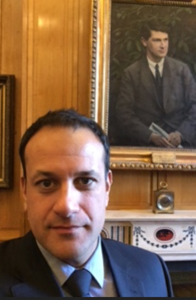 #leovaradkar with a portrait of Michael Collins
