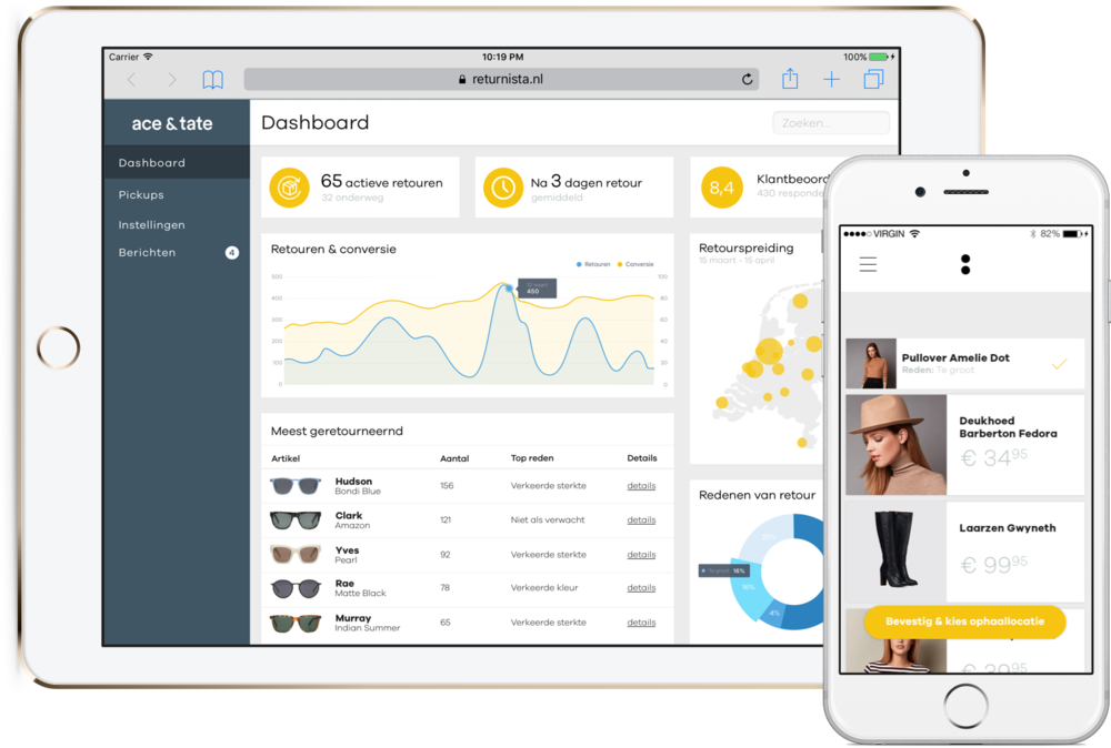 Improve insight in your inbound stream. - What is the primary reason your products are returned?Re:turnista offers new digitalized insights for your webshop. Our dashboard is most often used to adjust elements in the sales funnel in order to decrease chances of a return occuring.