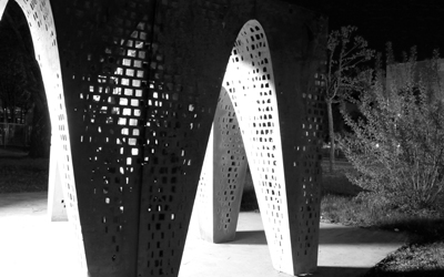 Thinness ( APTUM Architecture  - Roger Hubeli, Julie Larsen / CEMEX Research Group): A vaulted 10' x 10'  ultra high-performance concrete pavilion with walls only 1cm thick.