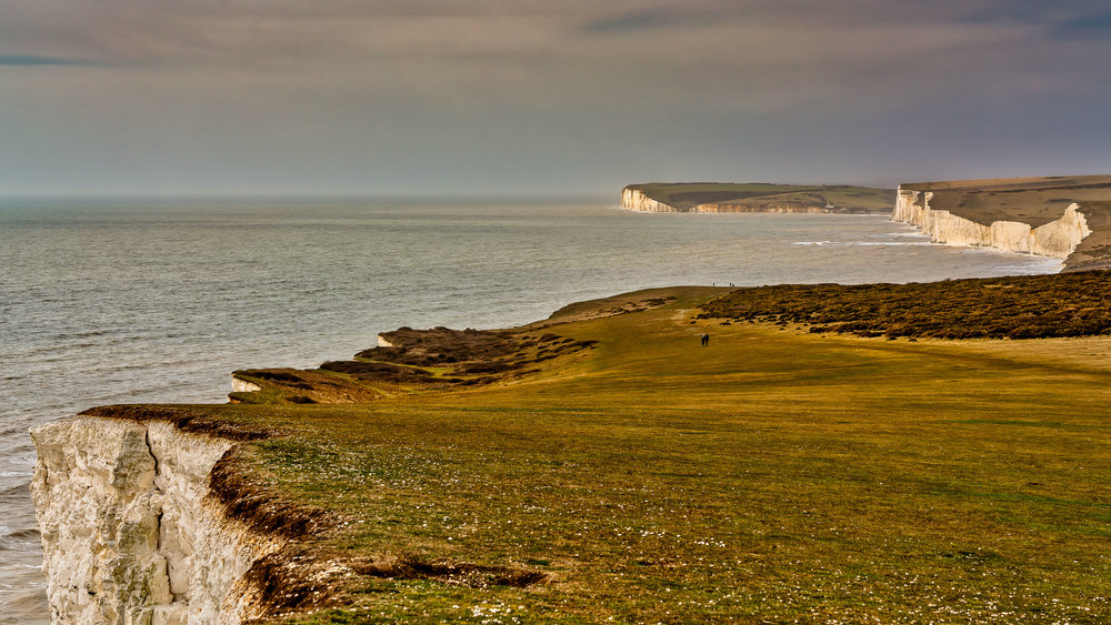 View from Beachy Head - Eastbourne - Beachy Head is famous for its white cliffs and the dramatic, undulating coastline created by the Seven Sisters