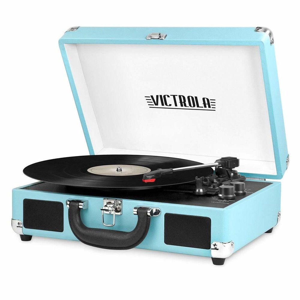 Bluetooth Turntable - This absurdly adorable suitcase turntable isn't just pretty to look at — it's a three-speed record player with built-in Bluetooth capabilities, plus it's easily portable. There are tons of color options available but prices vary.