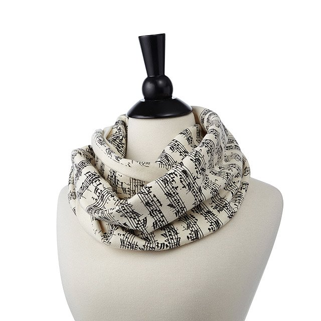 Sheet Music Scarf - This elegant black-and-white scarf is printed with handwritten sheet music of two classical music options so your favorite music nerd can look cute while they're spouting random information about Beethoven to hordes of mystified listeners.