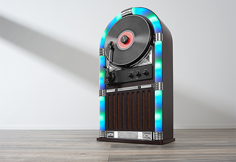 LED Jukebox and Record Player - The ultimate music player, this gorgeous piece features a 3-speed vertical turntable while also offering the wireless experience for Bluetooth music capability. It's an intense all-in-one device that'll light up any room it's in.