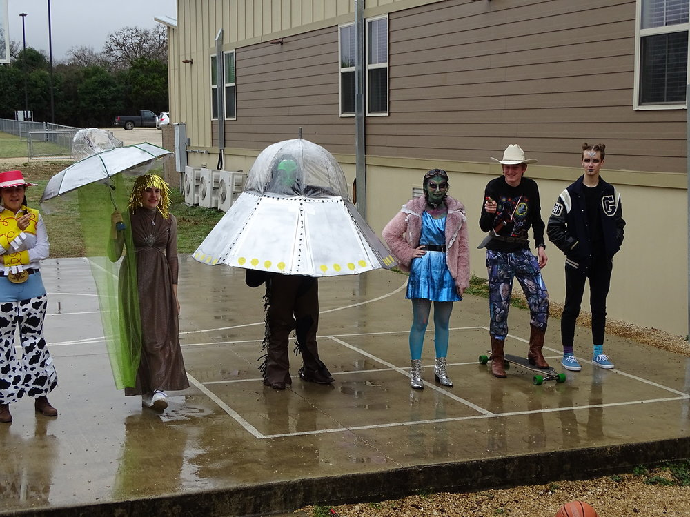 Monday saw the students in Cowboys v. Aliens getup.