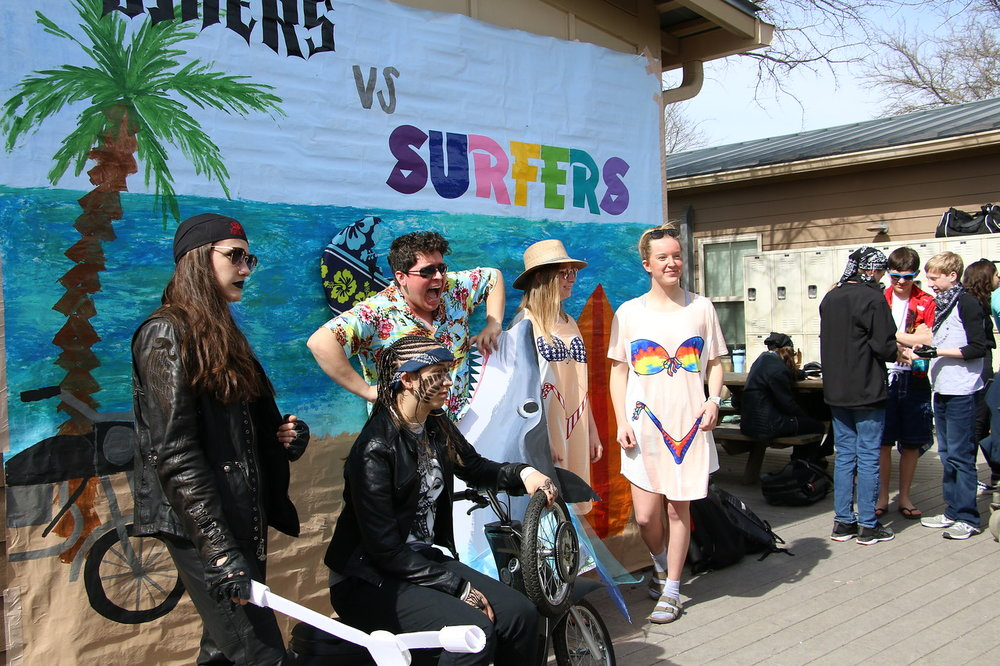 Wednesday was Bikers V. Surfers where people showed some skin and some attitude.