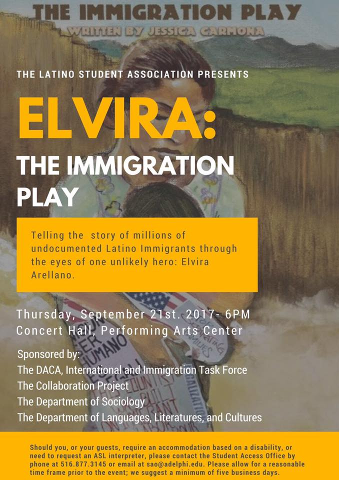 Elvira: The Immigration Play - After performing at the Collaboration Theatre in Chicago, Illinois. The production goes up at Adelphi University. One day only!