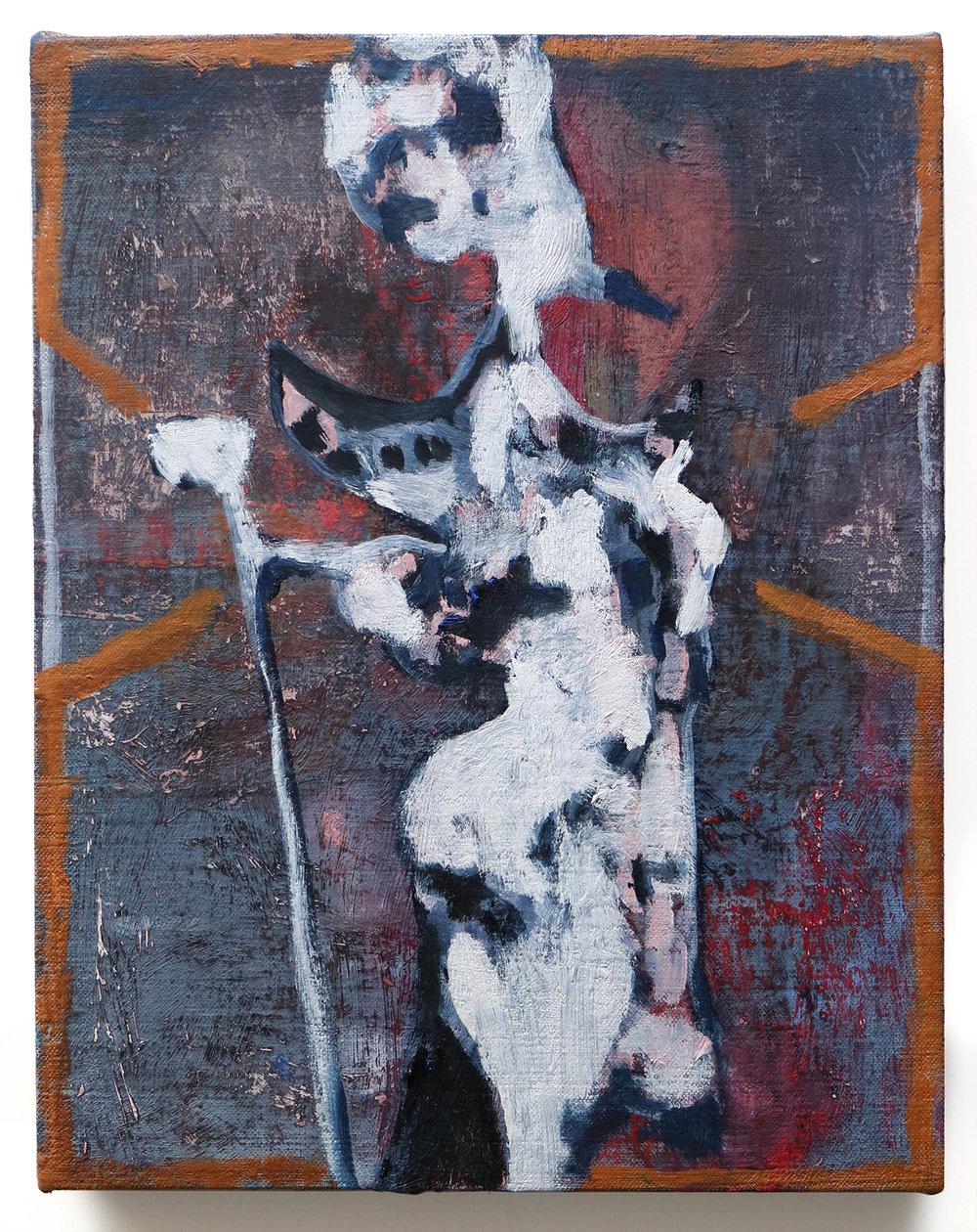 Lumin Wakoa, solitary, 2018, Oil on linen,14 x 11 in