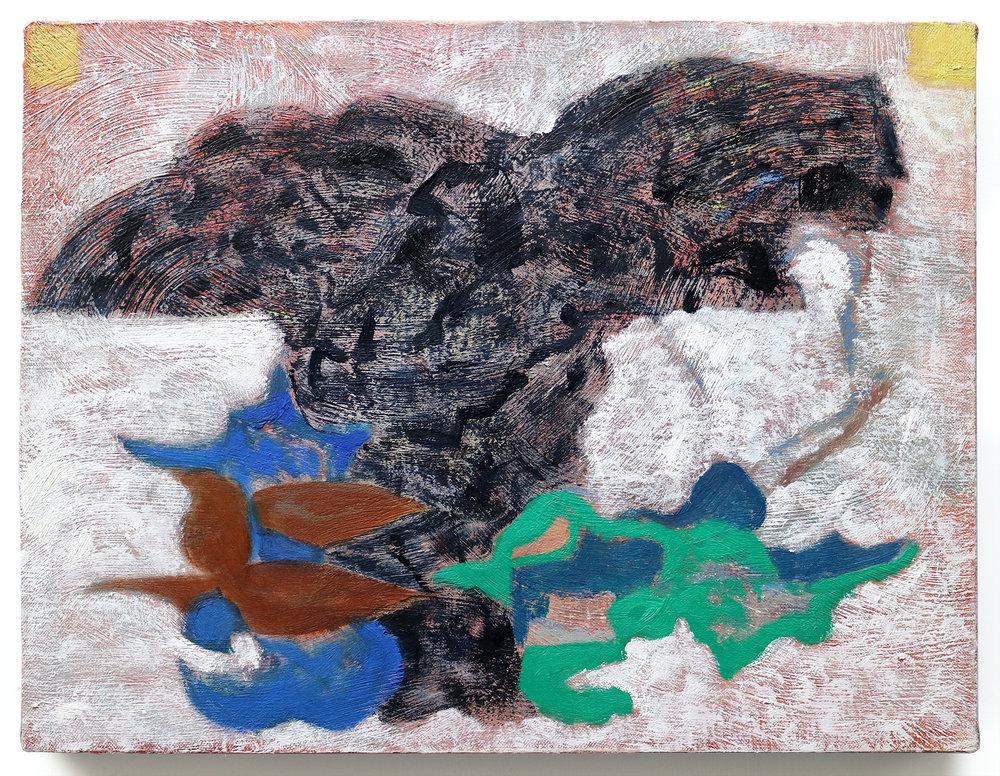 """Lumin Wakoa, """"muse of happiness"""", 2018, Oil on linen, 14 x 18 in"""