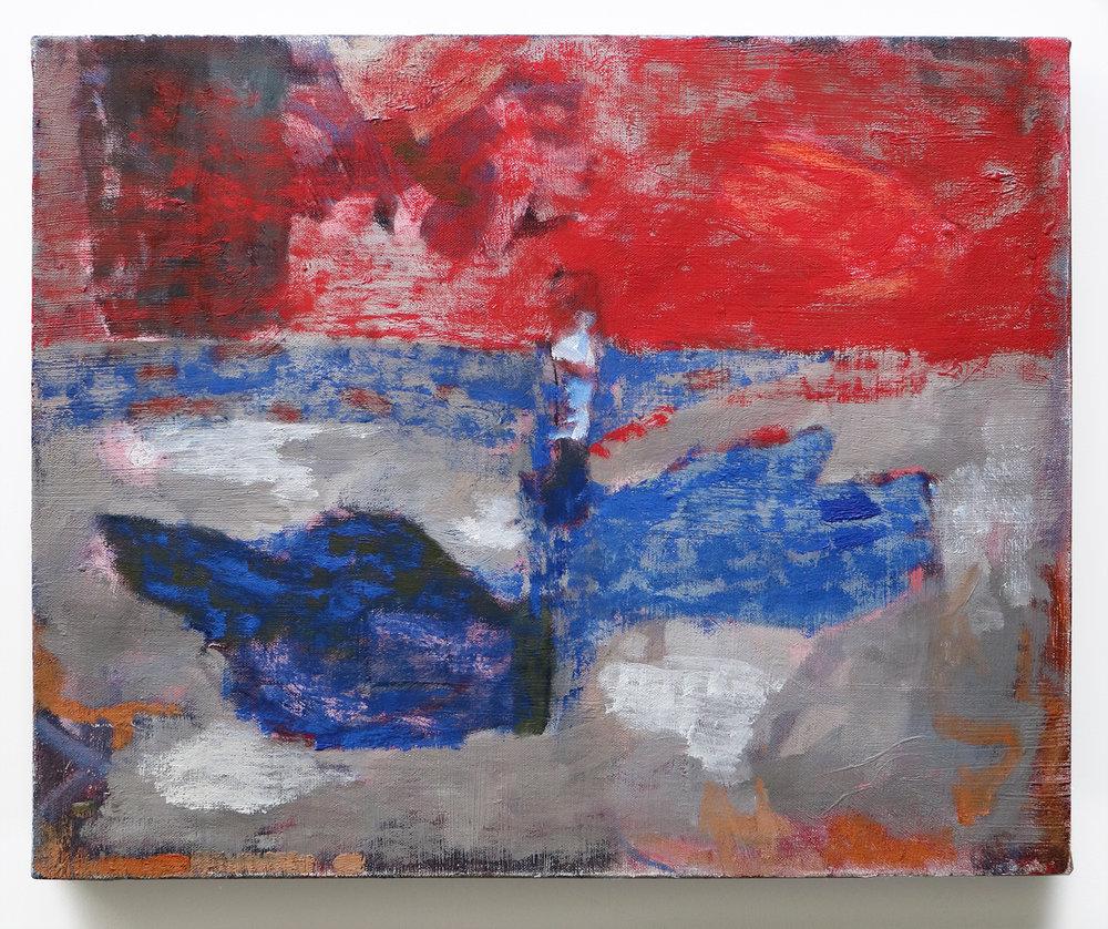 """Lumin Wakoa, """"signal"""", 2018, oil on linen, 16 x 20 in"""