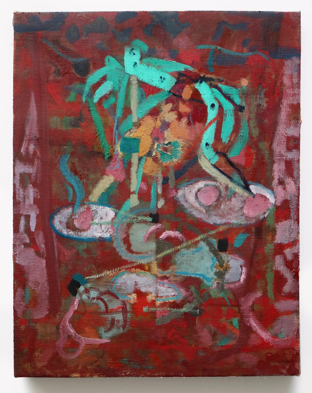 """Lumin Wakoa, """"fantasy island"""", 2018, Oil on linen, 20 x 16 in"""