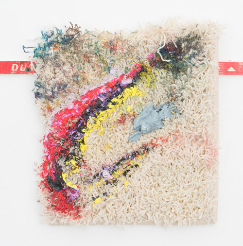 Courtney Childress,  Untitled , 2017, Acrylic, crayon, plaster on carpet, 11 x 13 in
