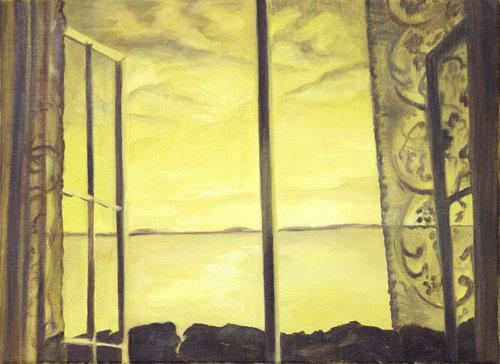 Sarah Kurz,  Yellow Sea,  2016, Oil on linen, 28 x 40 in