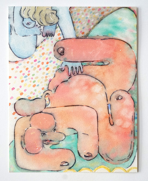 Sophie Larrimore,  Untitled,  2017, Marker and watercolor on paper, 11 x 8.5 in