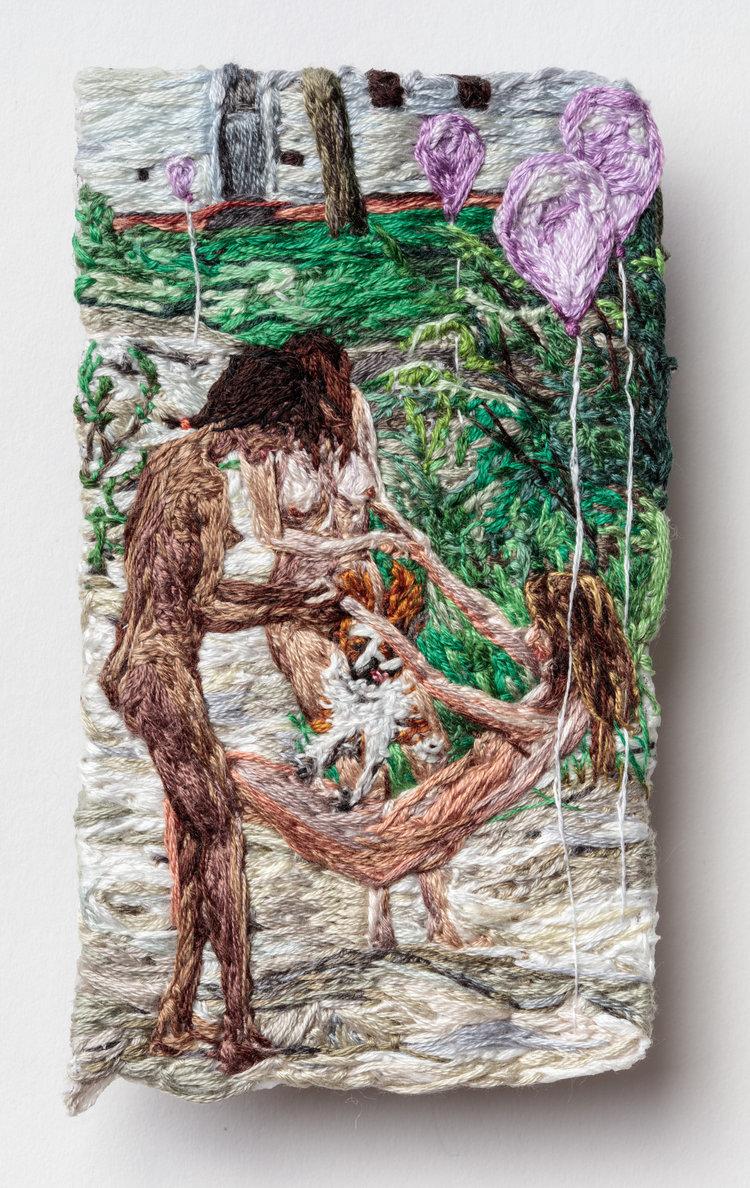 Sophia Narrett,  Puppy Tricks,  2017, Embroidery Thread on Fabric, 5 x 3 inches