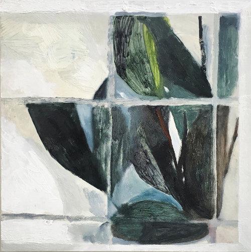 Ellen Siebers,  Studio Plant , 2017, Oil on shaped panel, 9.5 x 9.5 in