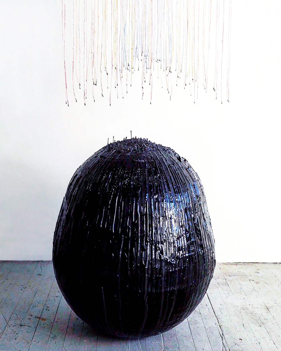 Alison Kudlow,  Gravitational Space,  Resin, silver-leaf, embroidery thread, and mixed media, 85 x 35 x 35 inches