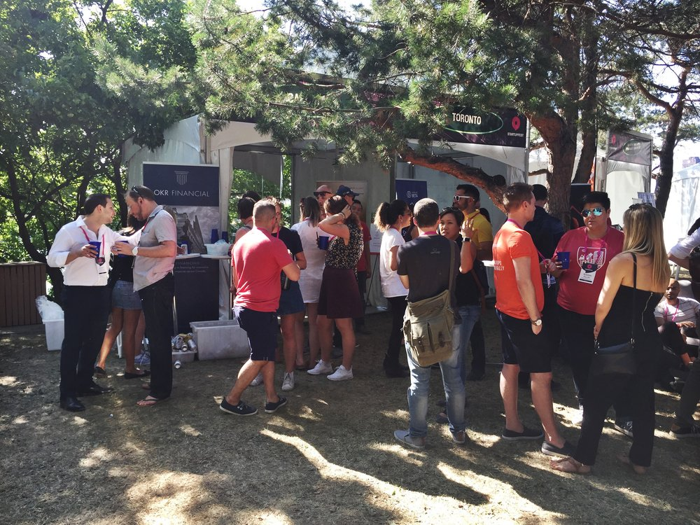 The Calgary tent during happy hour sponsored by OKR Financial. Photo: Lynne Croker, OKR Financial