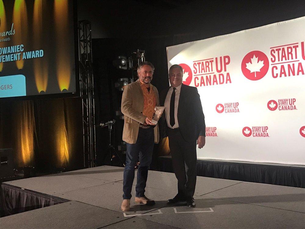 W. Brett Wilson, Chairman of the Prairie Merchant Corporation, received the Startup Canada Adam Chowaniec Lifetime Achievement Award.  Photo: Startup Canada