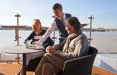 Panorama Deck  The Panorama Deck holds prime position at the front of the ship, where guests can chart their course in comfort. Protected from the elements, guests can lap up to the al fresco atmosphere with a fortifying snack or thirst quenching beverage.
