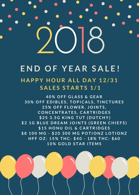 ITS THE COUNTDOWN TO THE NEW YEAR! STOP IN ON 12/31 FOR ALL DAY HAPPY HOUR AND BIG SALES ALL DAY 1/1! CHEERS TO 2018!